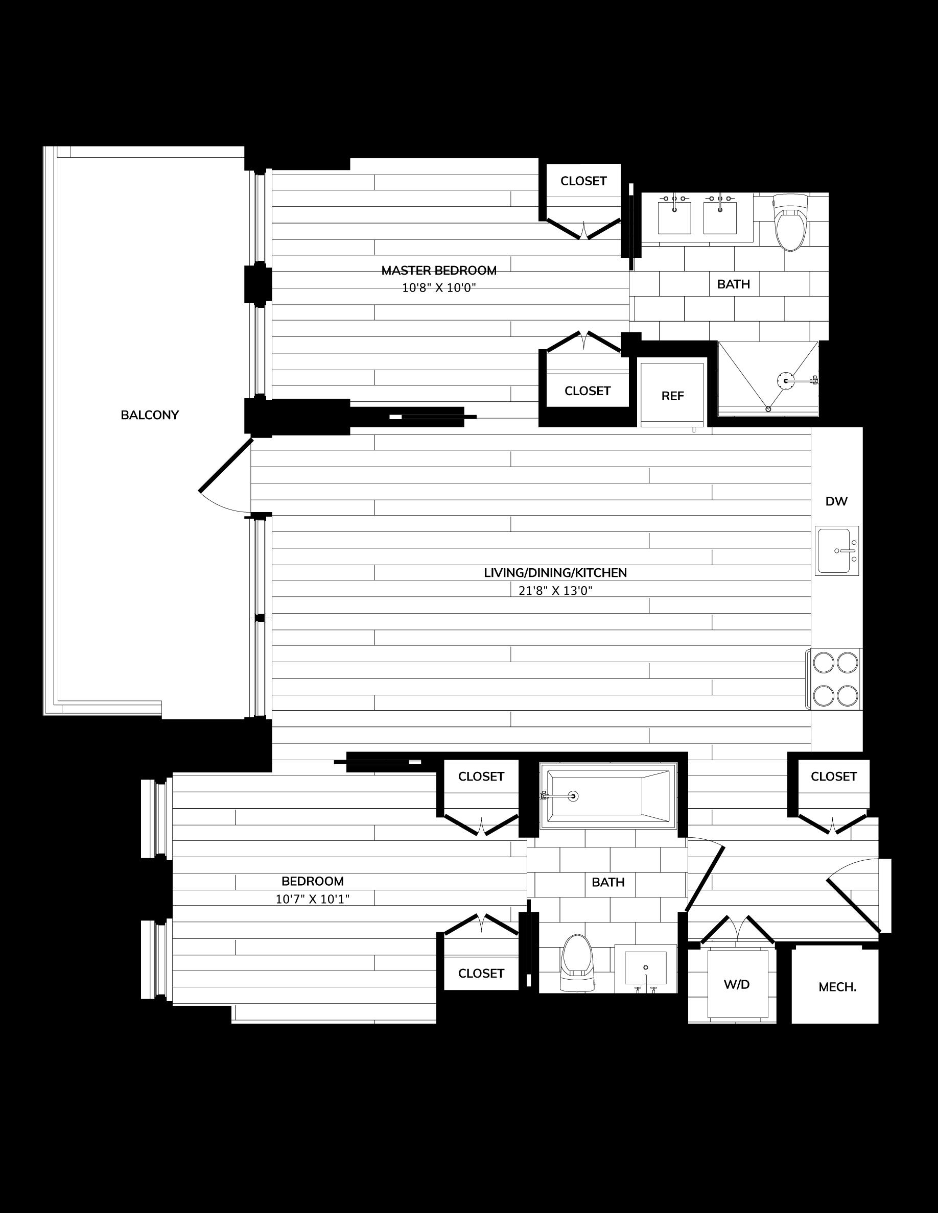 Floorplan image of unit 0602