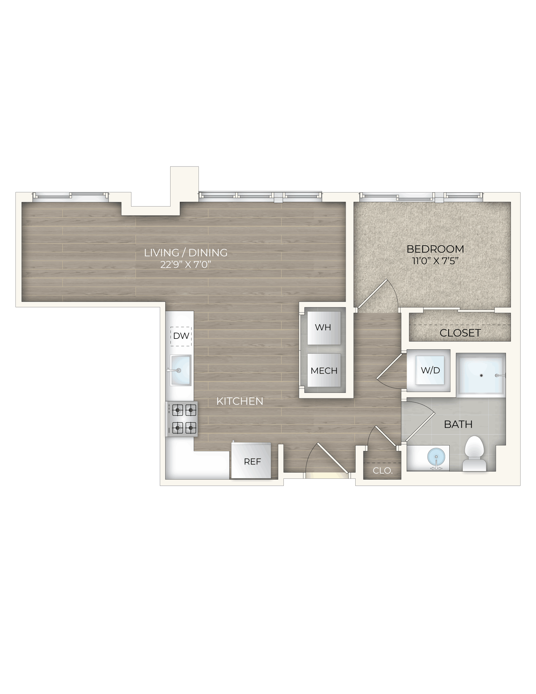 floor plan image of apartment 231S