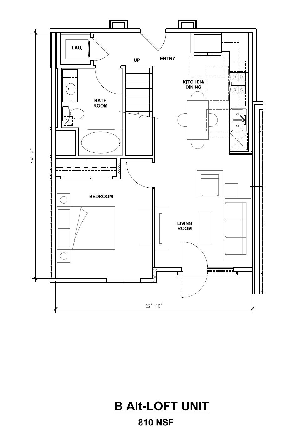 Mira, B-Alt Loft Unit, 1x1, 810 sf