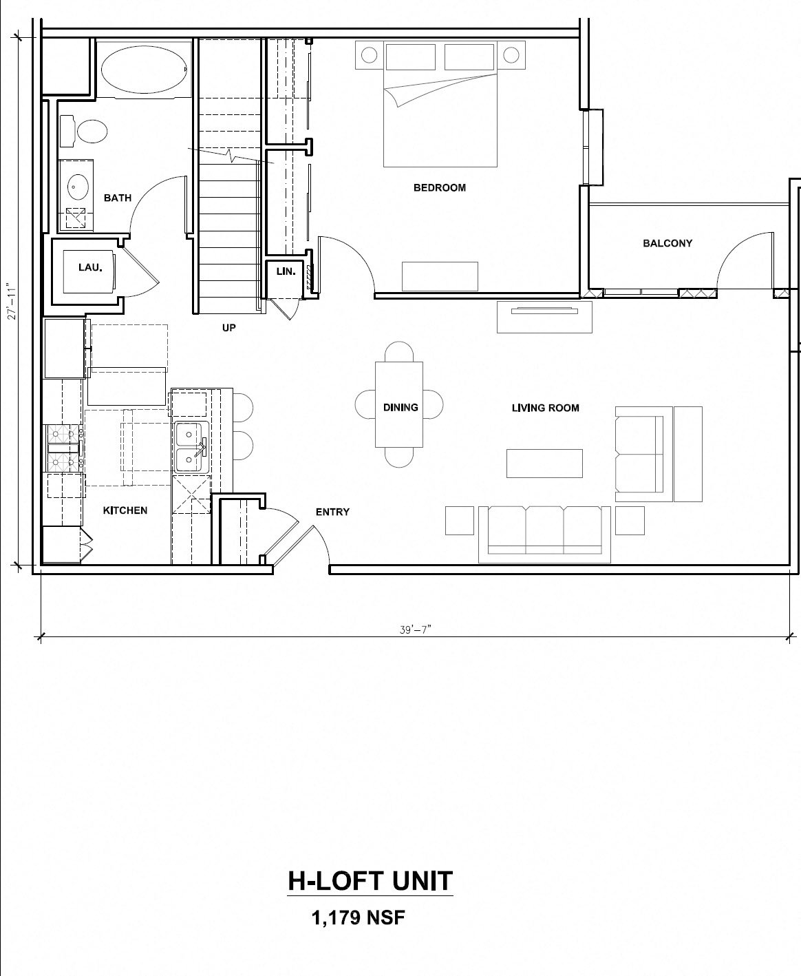 Mira, H-Loft Unit, 1x1, 1179 sf