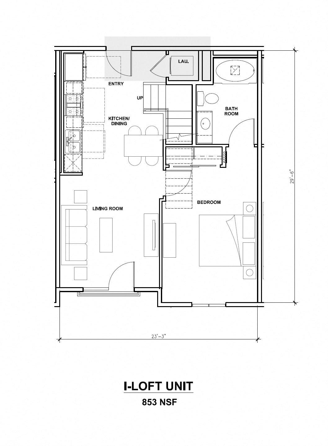 Mira, I-Loft Unit, 1x1, 853 sf