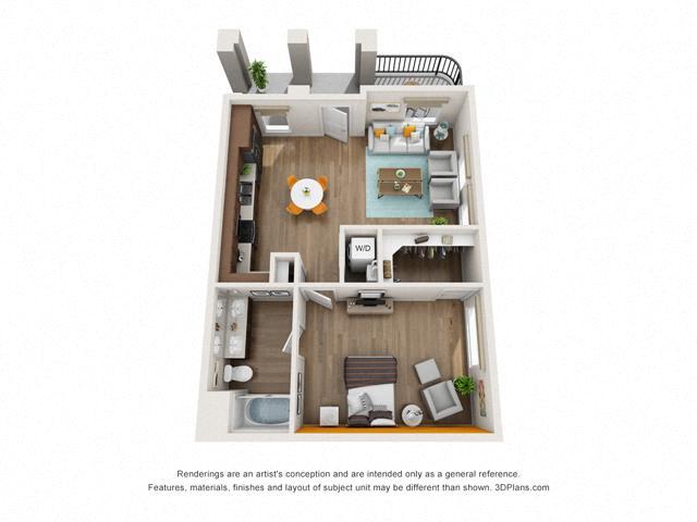Floor Plan One Bedroom B1 Layout