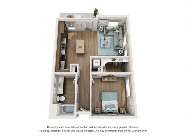 Floor Plan One Bedroom B1A Layout