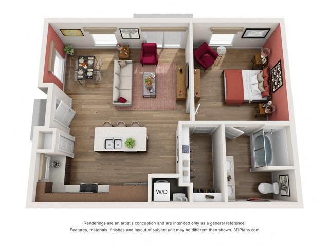 Floor Plan One Bedroom B2 Layout