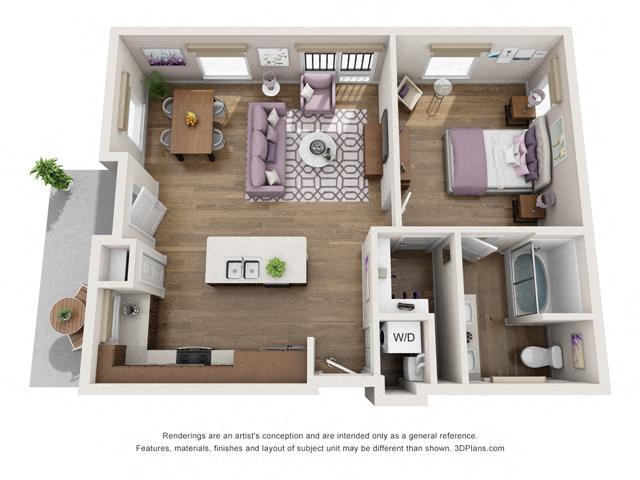 Floor Plan One Bedroom B3 Layout