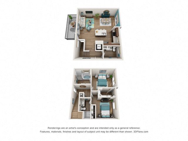 Floor Plan Two bedroom Townhome C1 Layout