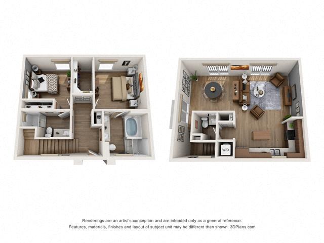 Floor Plan Two bedroom Townhome C2 Layout