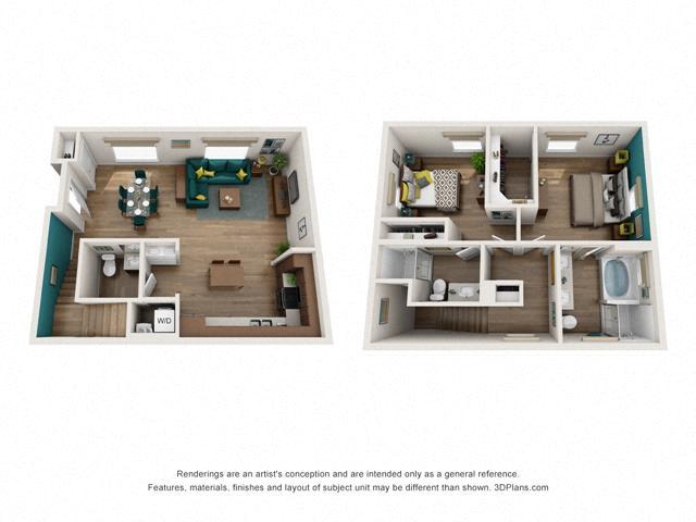 Floor Plan Two bedroom Townhome C4 Layout
