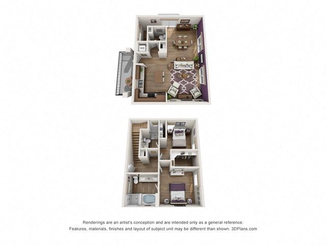 Floor Plan Two bedroom Townhome C5 Layout