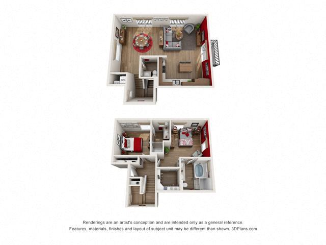 Floor Plan Two bedroom Townhome C6 Layout