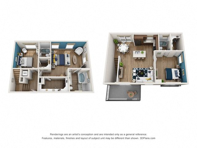 Floor Plan Three bedrom Townhome D1 Layout