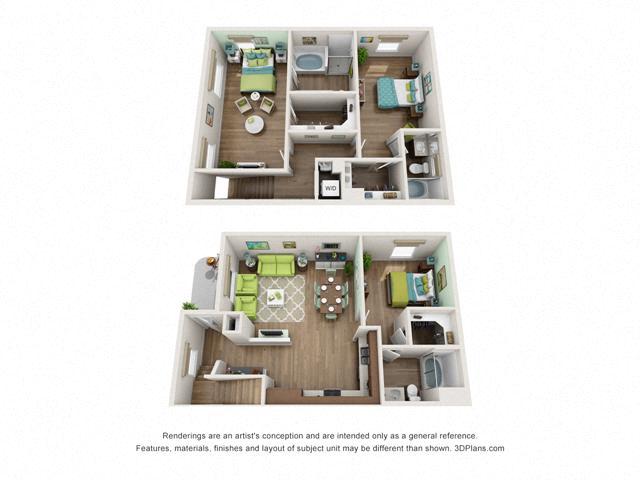 Floor Plan Three bedroom Townhome D2 Layout