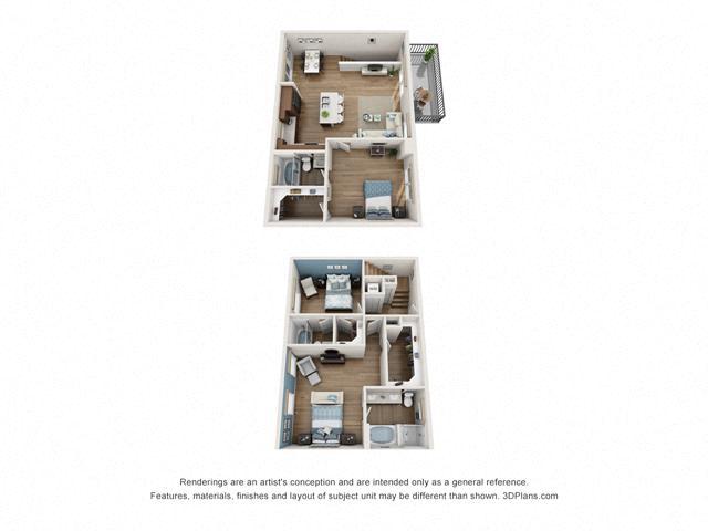 Floor Plan Three bedroom Townhome D3 Layout