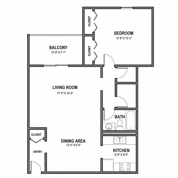 Large 1 Bedroom, 1 Bath