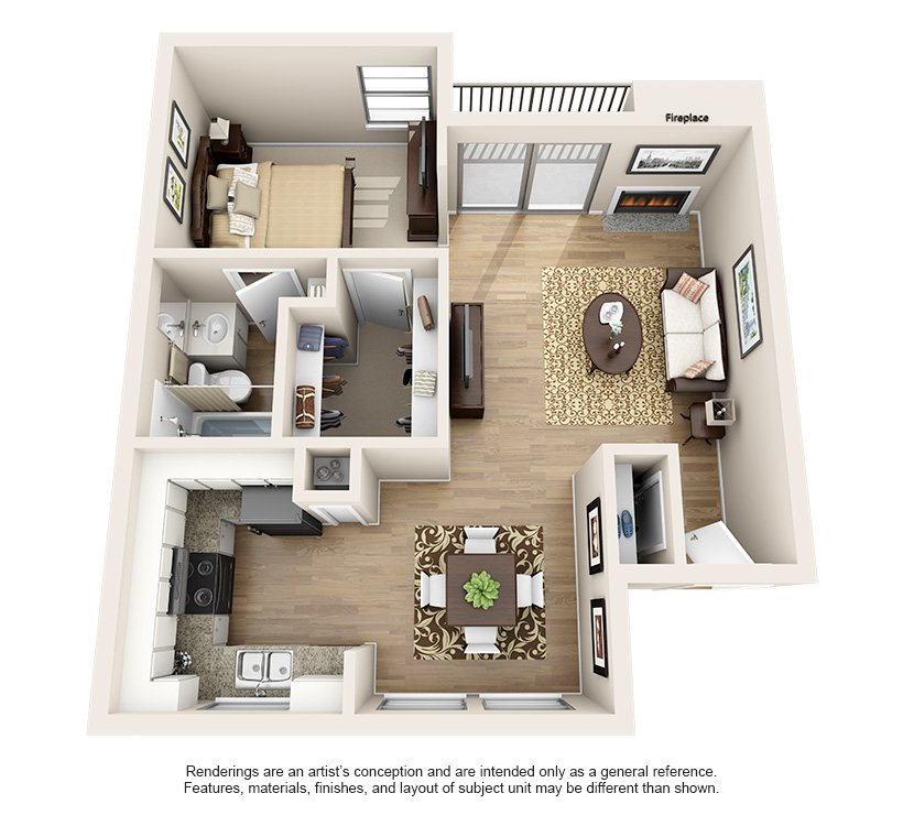 1 & 2 Bedroom Layouts For Rent