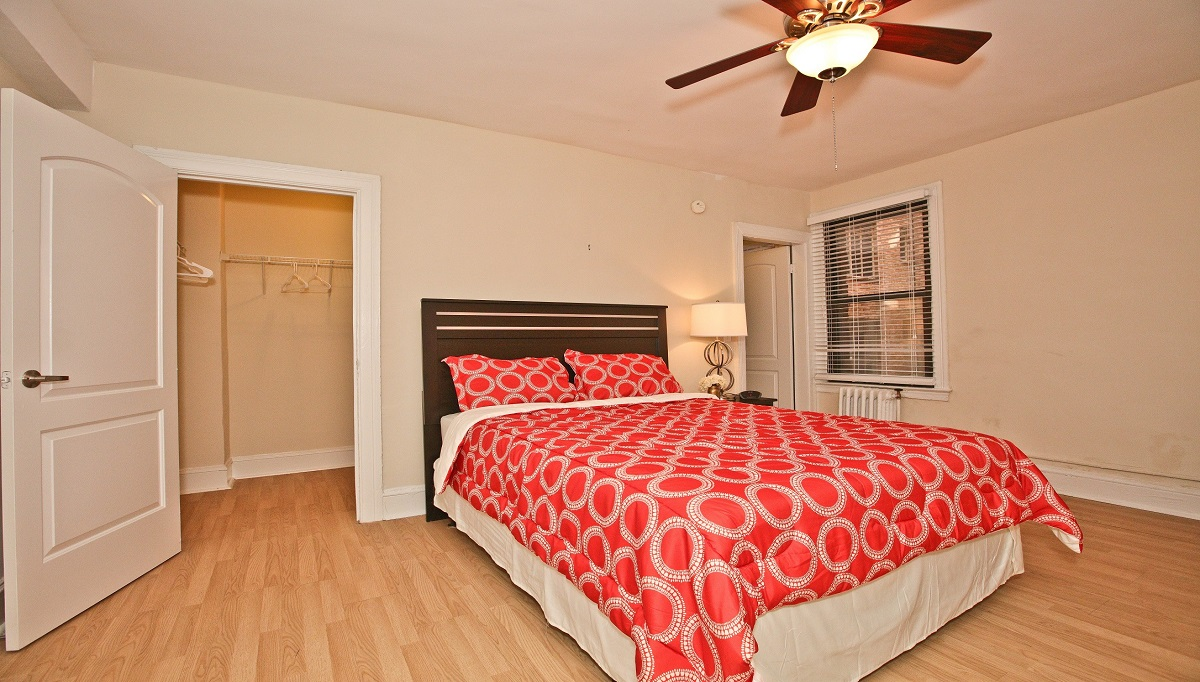 Model 1 bedroom with view of closets at Ravenel
