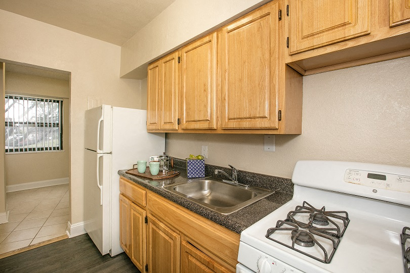 Renovated kitchen at Sarbin Towers