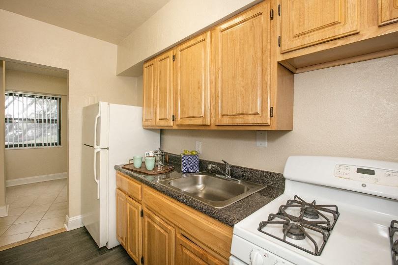 Renovated kitchen at Sarbin Towers