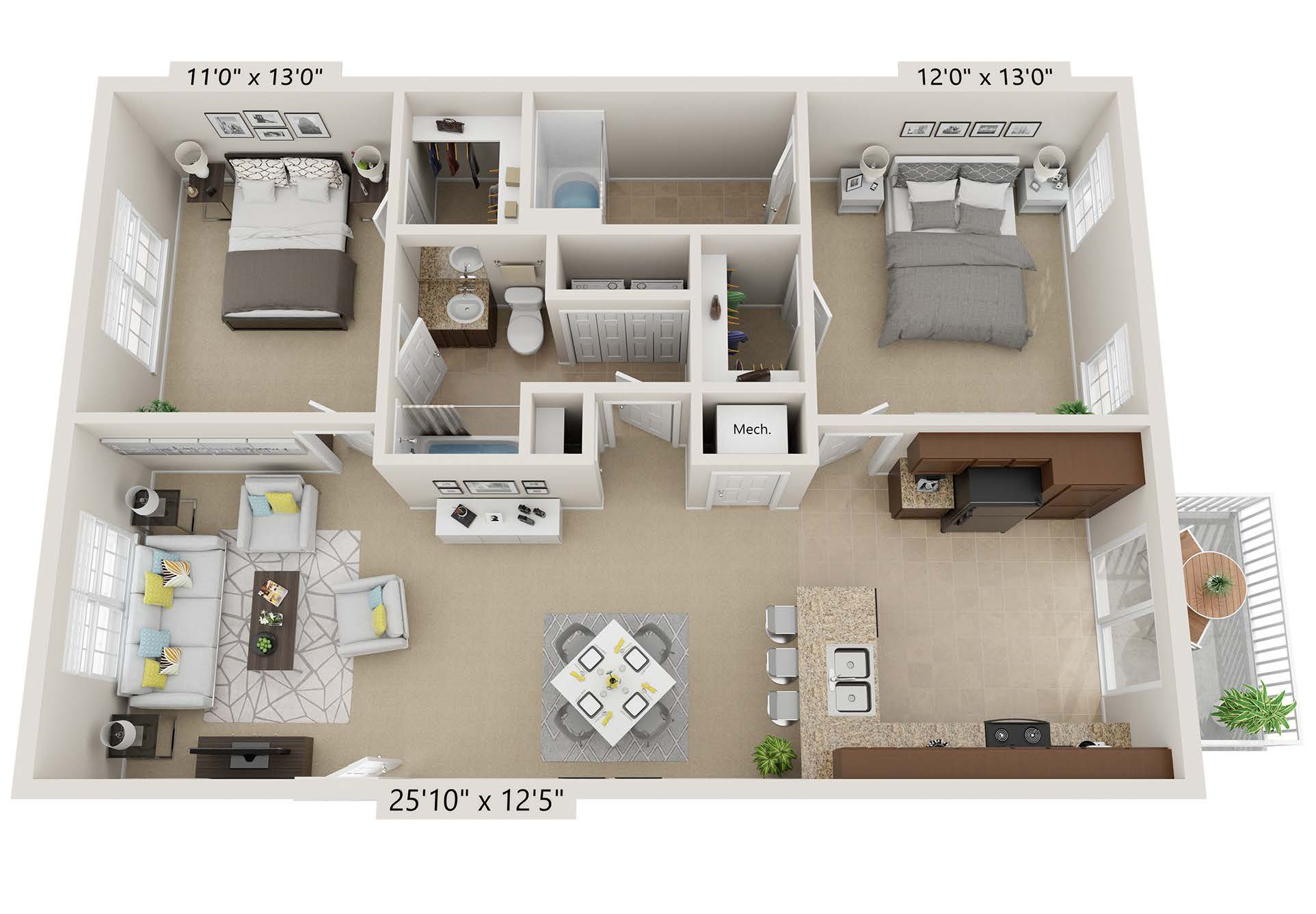 Two Bedroom - cc2b2b-a