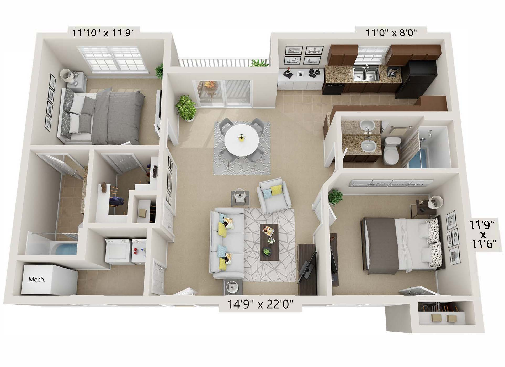 Two Bedroom - cc2b2b-b