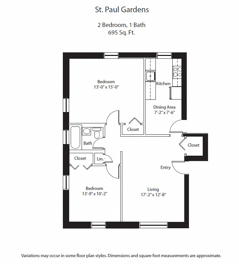 Click to view 2 BR floor plan gallery