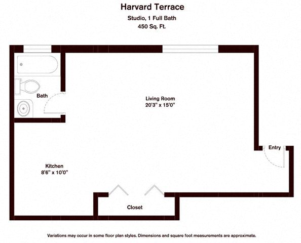 Click to view Studio floor plan gallery