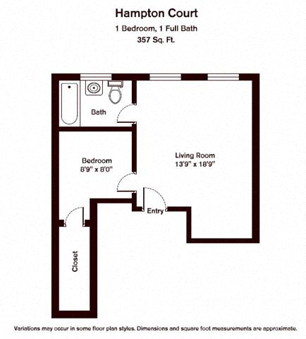 Click to view 1 BR w/ A/C floor plan gallery
