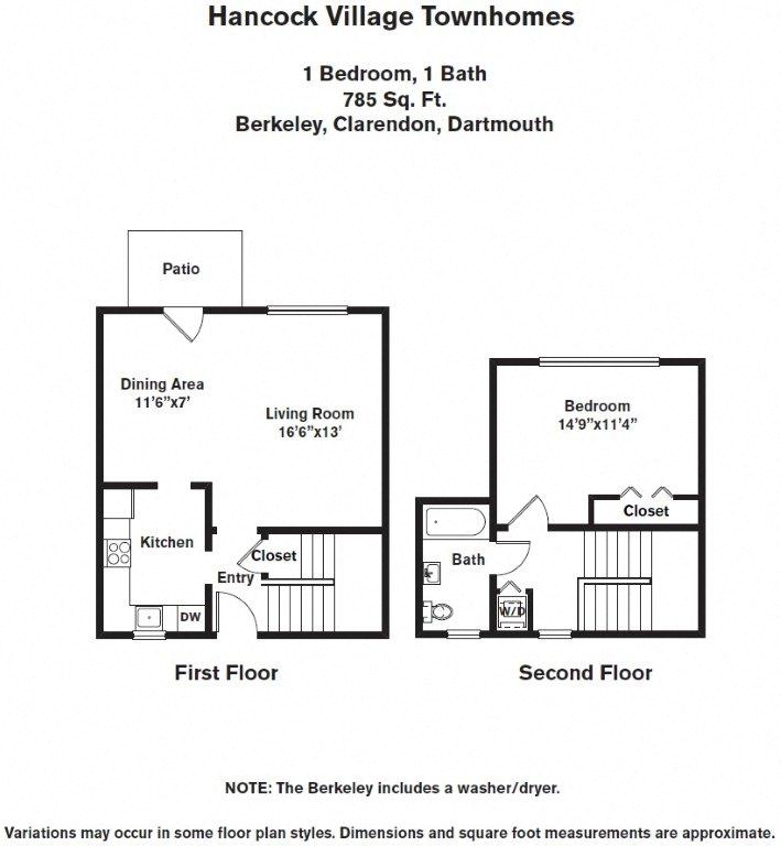 Click to view 1 Bedroom with A/C Townhome floor plan gallery