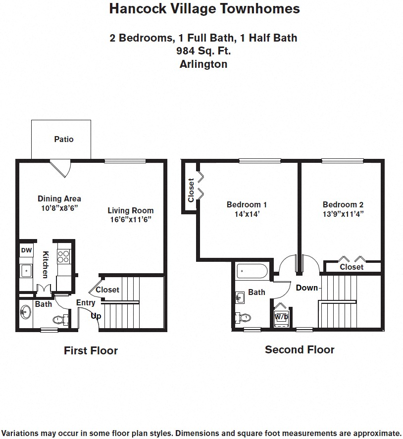 Click to view 2 Bedroom with A/C Townhome floor plan gallery