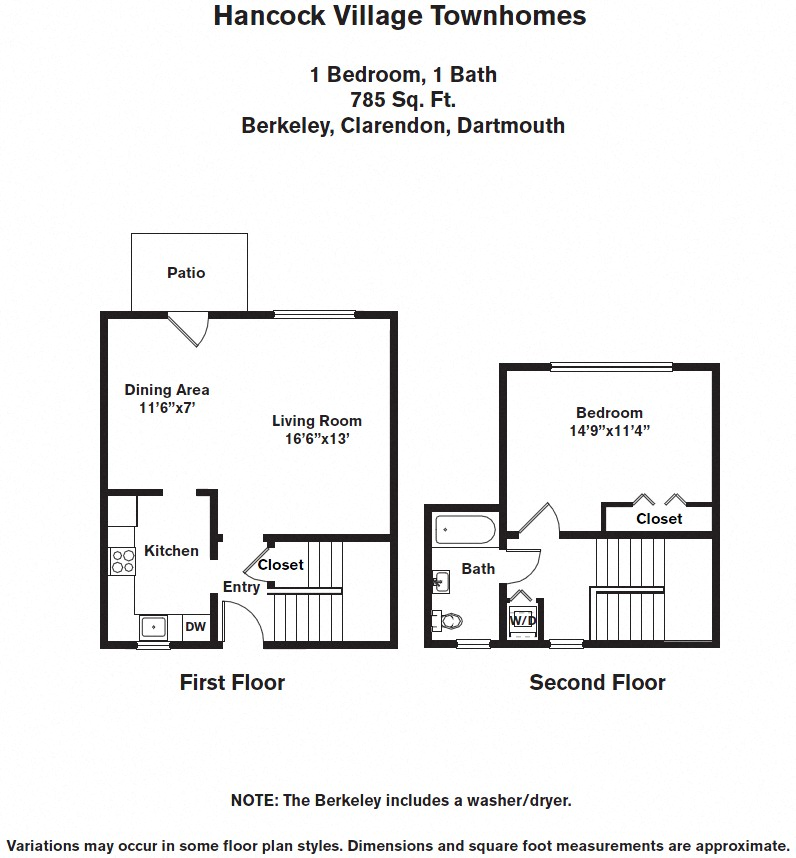 Floor plan 1 Bedroom with A/C Townhome image 2