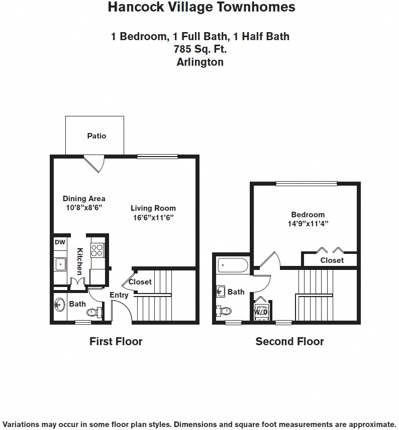 Floor plan 1 Bedroom with A/C Townhome image 3