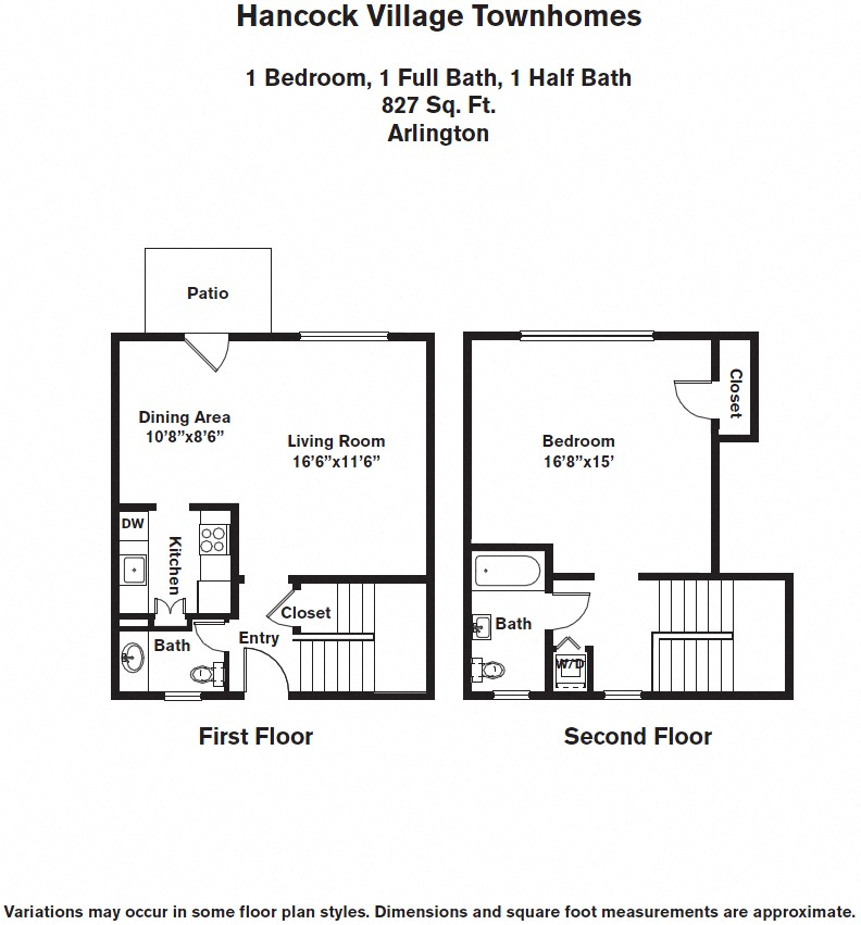 Floor plan 1 Bedroom with A/C Townhome image 4