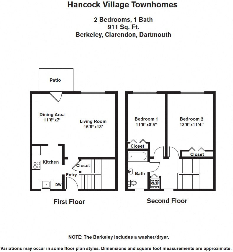 Floor plan 2 Bedroom with A/C Townhome image 2