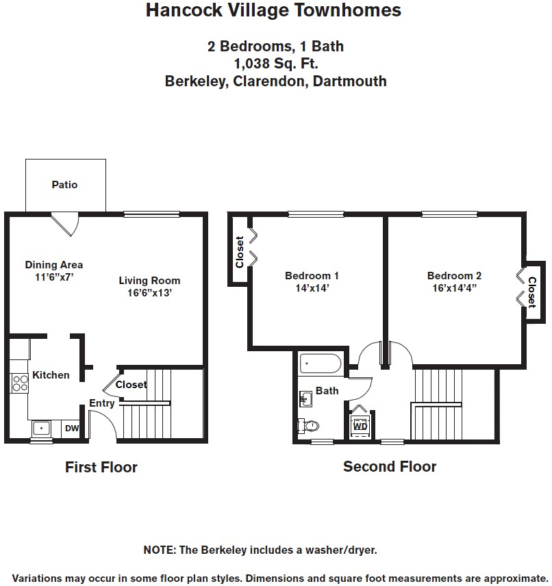 Floor plan 2 Bedroom with A/C Townhome image 4