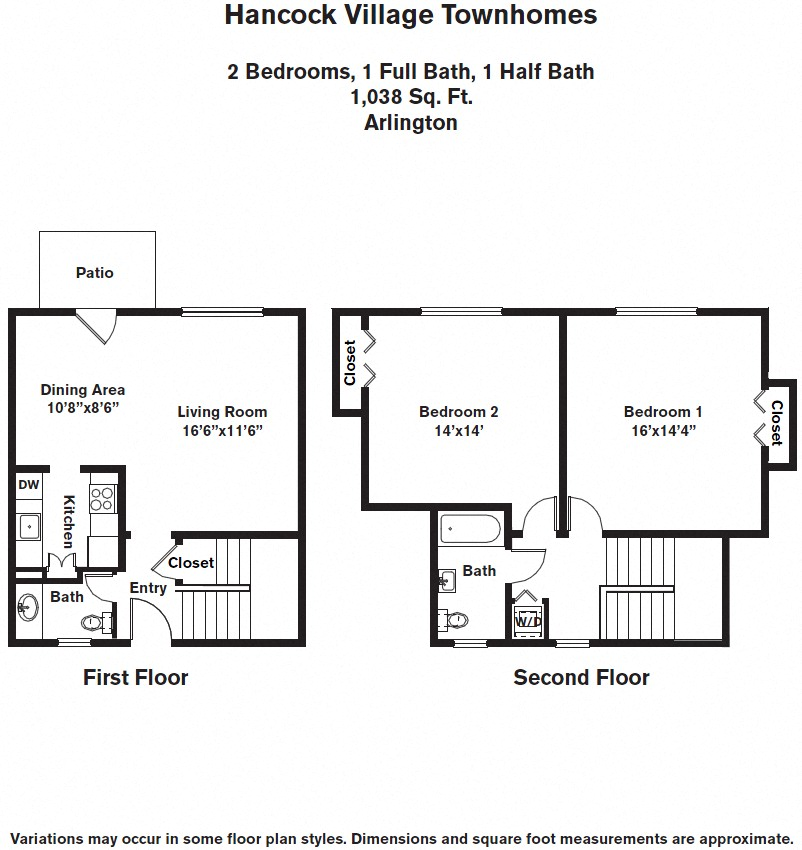 Floor plan 2 Bedroom with A/C Townhome image 3