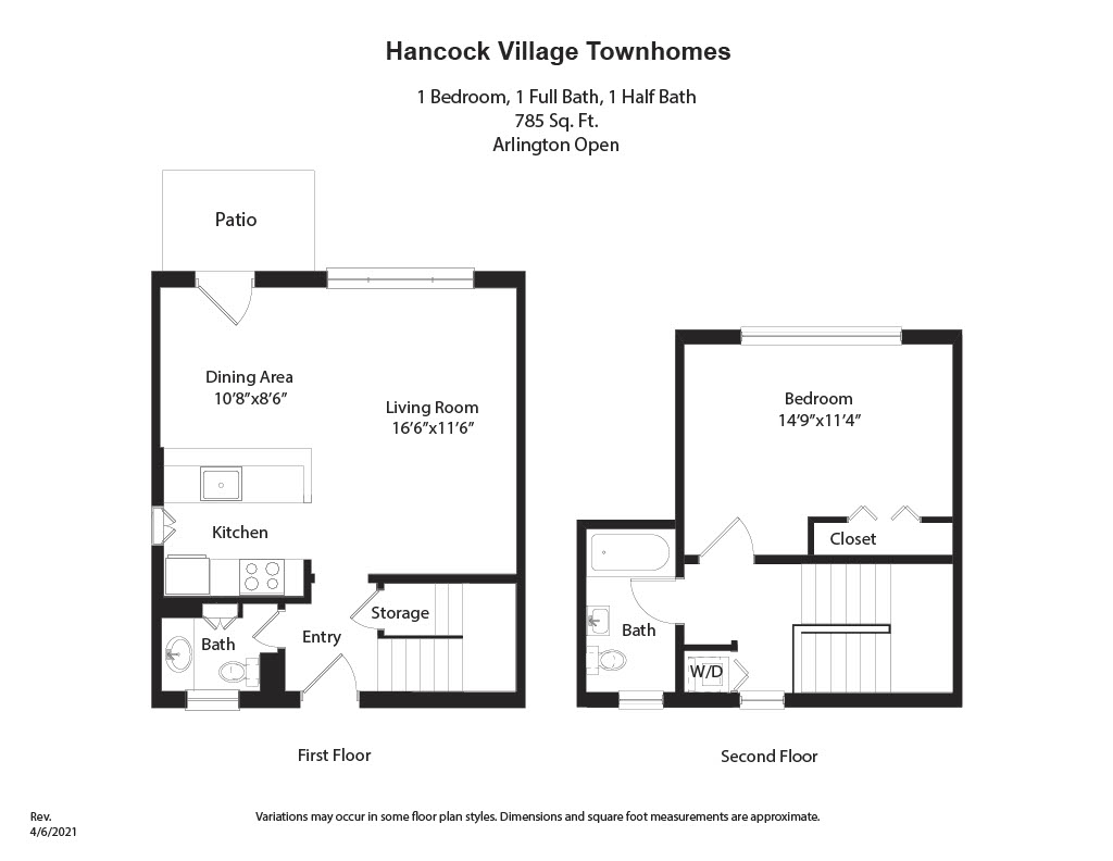Floor plan 1 Bedroom Townhome - Heat and Hot Water Included image 2