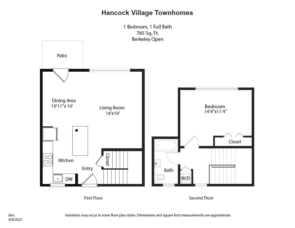 Click to view 1 Bedroom Townhome - Heat and Hot Water Included floor plan gallery