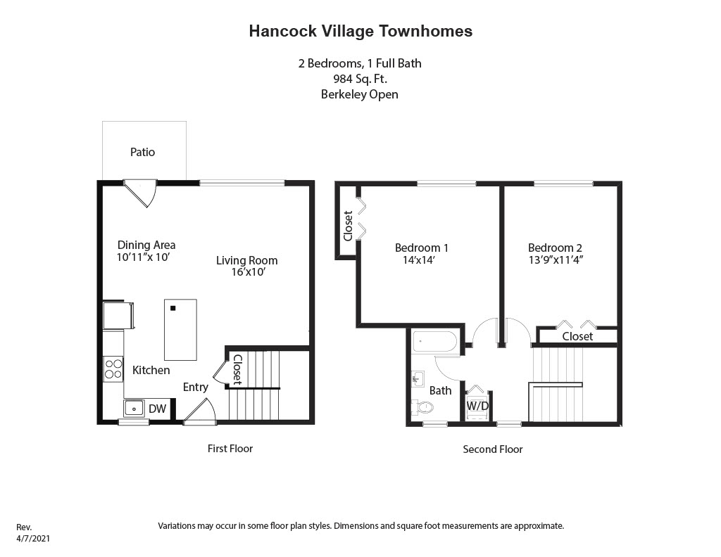 Floor plan 2 Bedroom Townhome  - Heat and Hot Water Included image 4