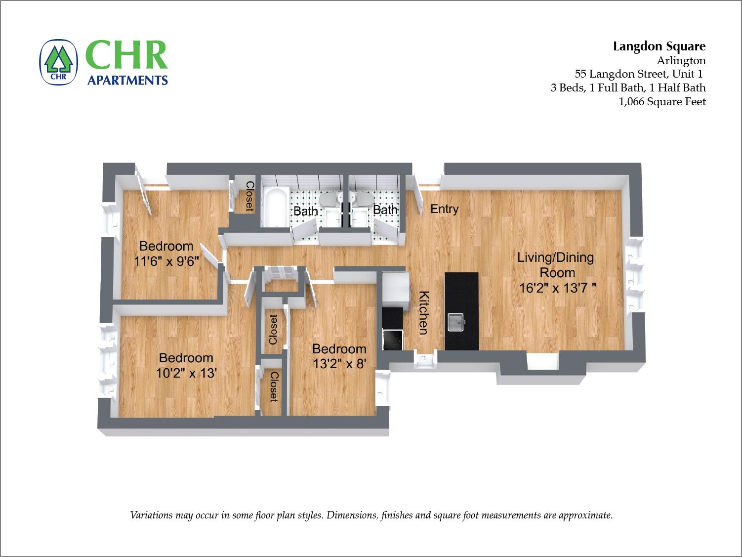 Click to view 3 Bedroom floor plan gallery