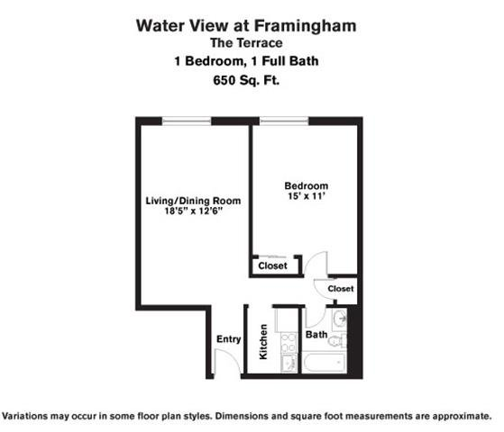Click to view Floor plan 1 BR w/ A/C image 3