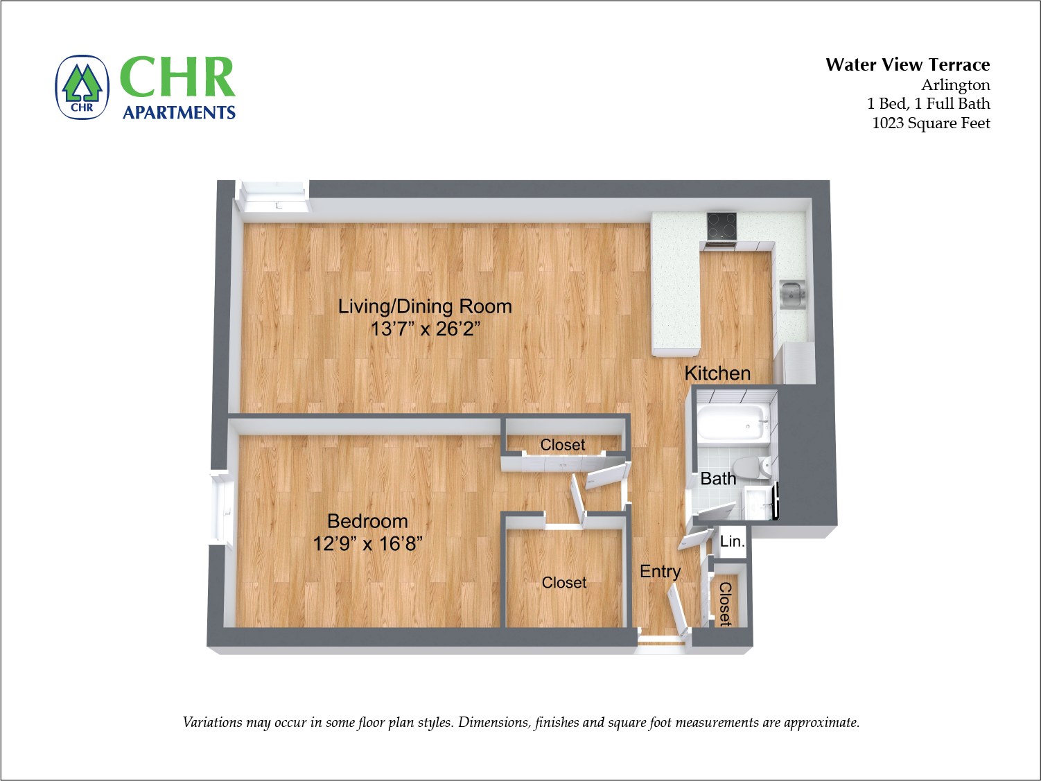 Click to view 1 BR Large w/ A/C floor plan gallery