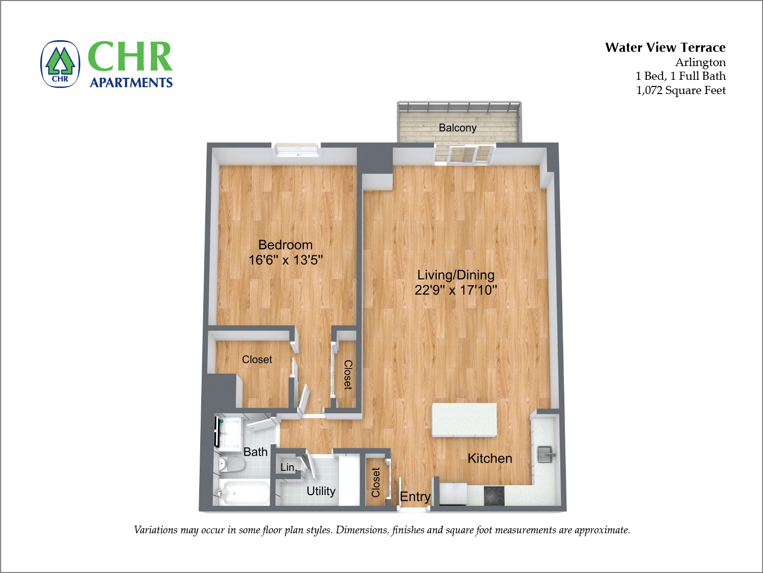 Click to view 1 BR Extra Large w/ Balcony floor plan gallery
