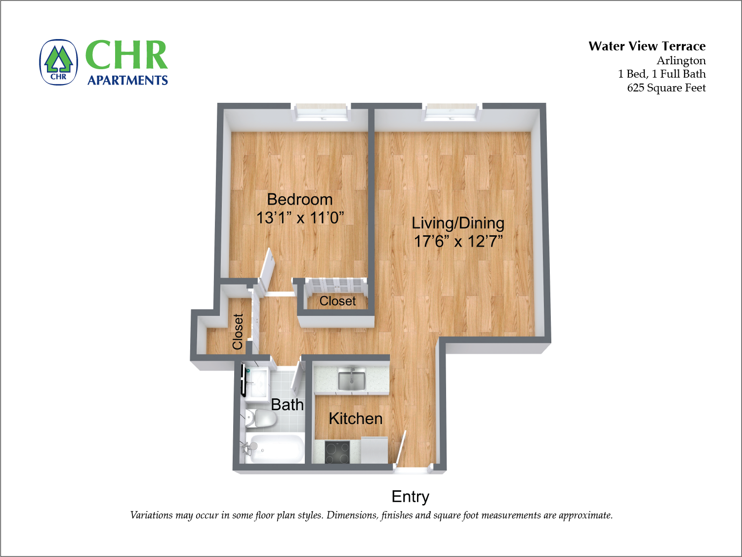 Click to view 1 Bedroom with A/C floor plan gallery