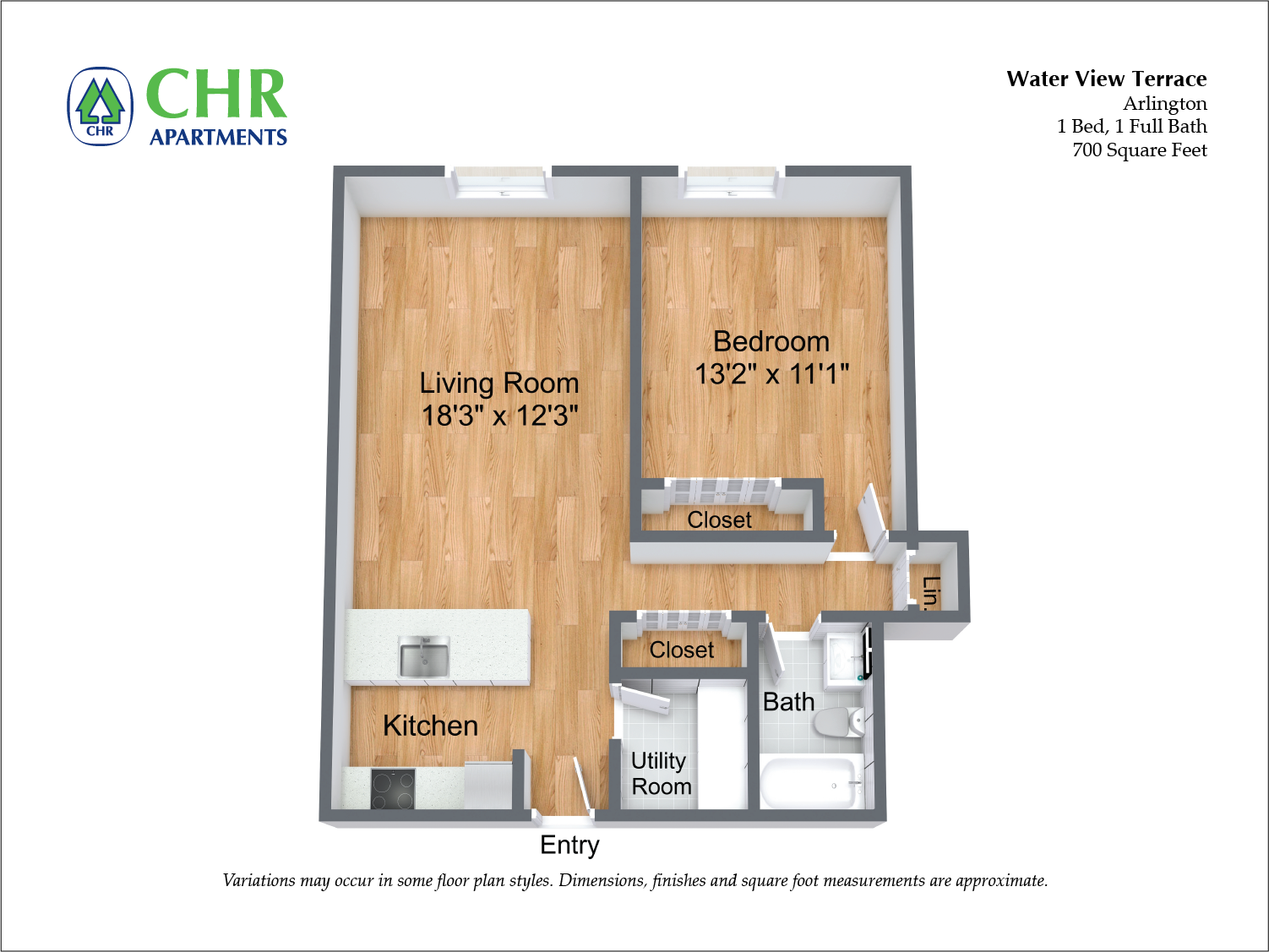 Click to view Floor plan 1 BR w/ Extra Storage & A/C image 1