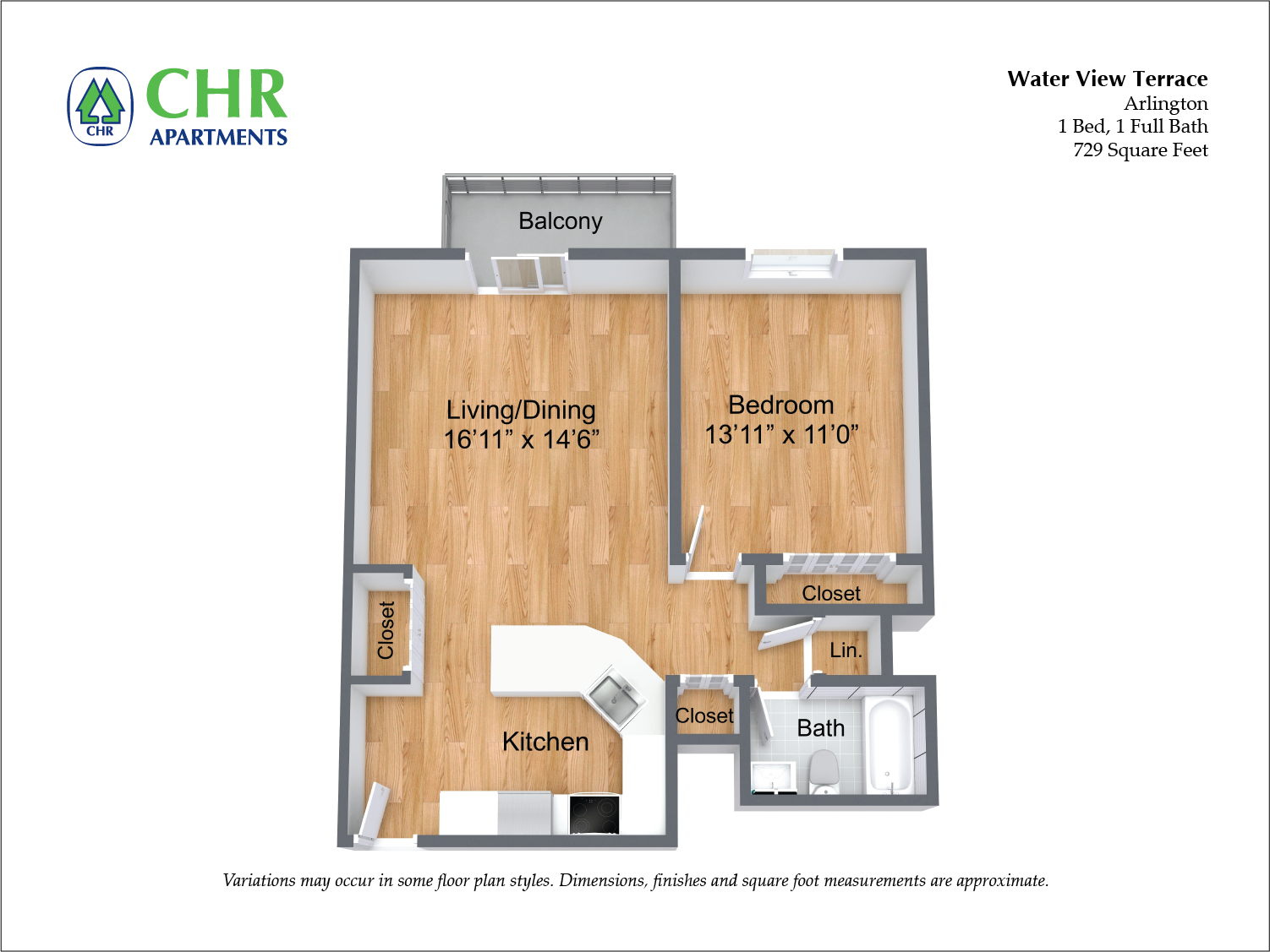 Click to view Floor plan 1 BR w/ Balcony & A/C image 3