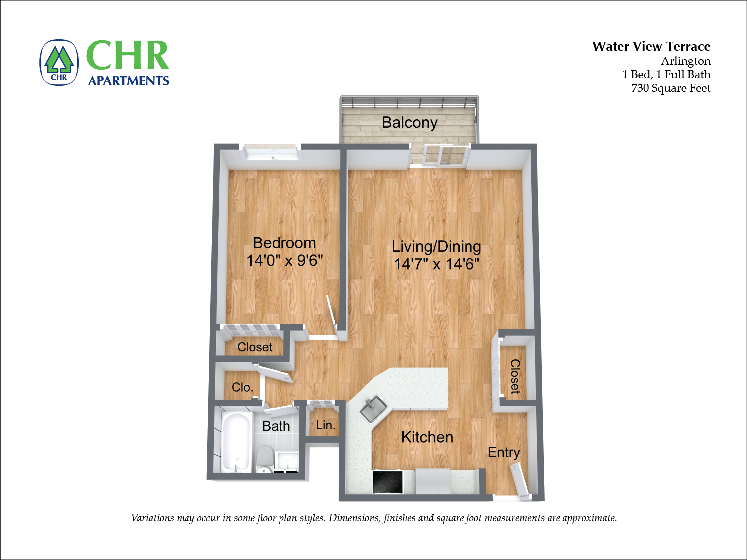 Click to view 1 BR w/ Balcony & A/C floor plan gallery