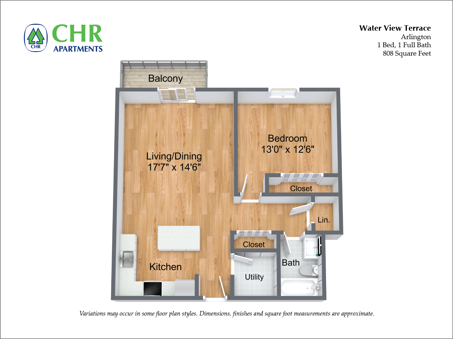 Click to view 1 BR w/ Balcony & Extra Closets floor plan gallery