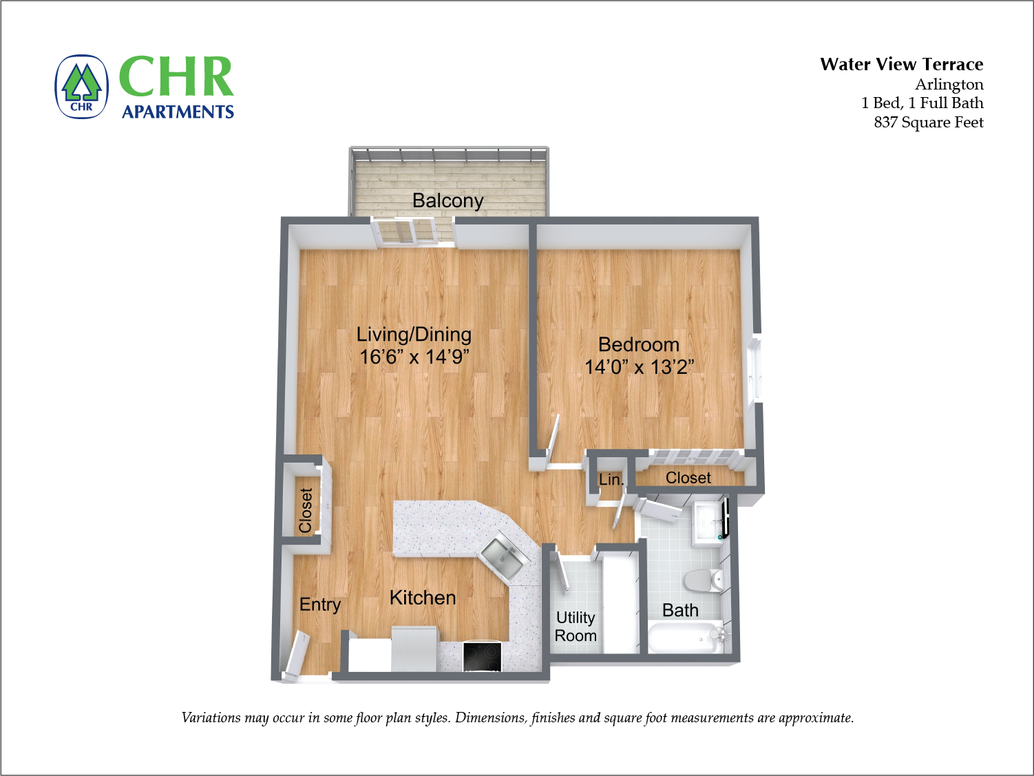 Floor plan 1 Bedroom with Balcony and Extra Closets image 3