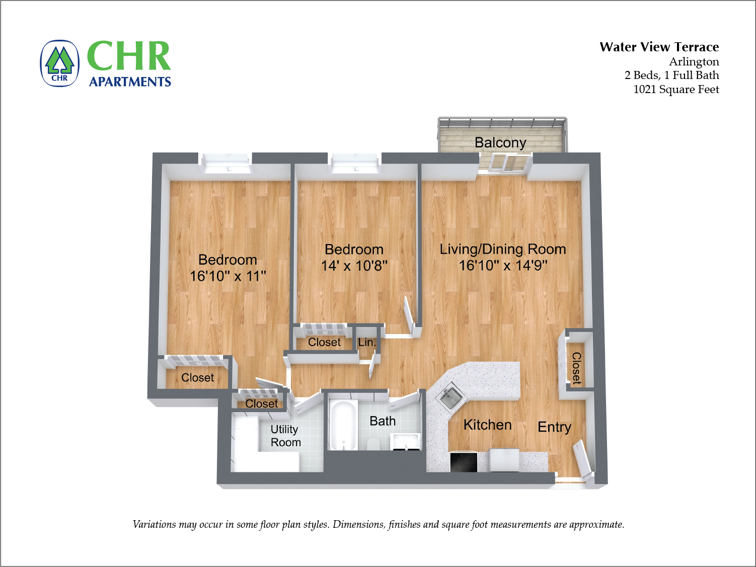 Floor plan 2 Bedroom with Balcony and A/C image 4