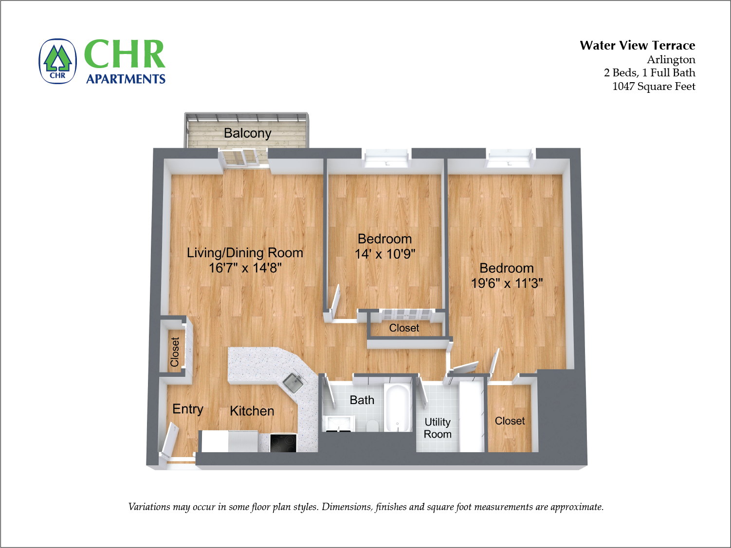 Click to view Floor plan 2 BR w/ Balcony & A/C image 7